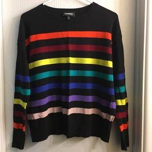 EXPRESS Rainbow Striped Crew Neck Sweater 🌈